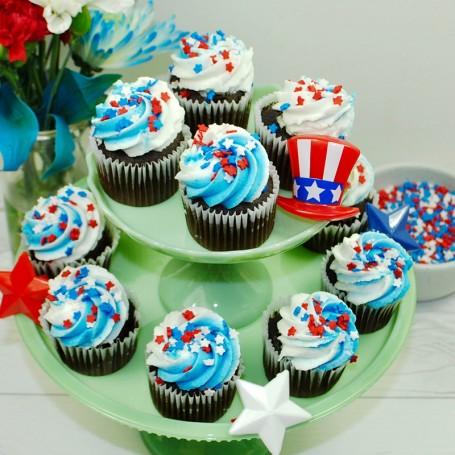 Chocolate Mini Patriotic Cupcakes